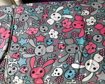 Skull bunny jersey cotton fabric, stretch fabric, 4 way stretch jersey fabric, bunnies, rabbit, skulls, cotton lycra, kawaii