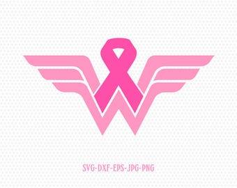 Wonder Woman Breast Cancer Awareness , CriCut Files frame Cricut download svg jpg png dxf Silhouette cameo