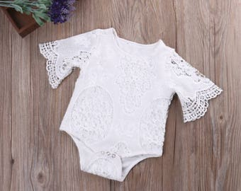 White Lace Ruffles Sleeves Onesie 0-3 months, 4-6 months, 10-12 months, 13-18 months, 19-24 months
