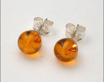 Amber 5mm Round Studs Earrings - Sterling Silver