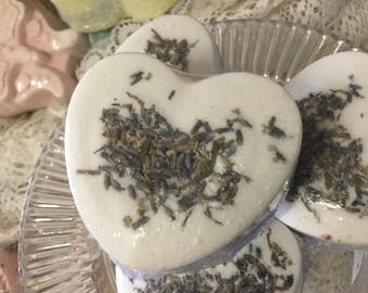 3 Lavender Buds Heart BathBomb (Pick your Scent)