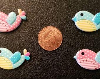 Set of 4 resin bird embellishments