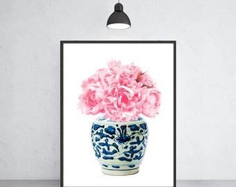 blue and white vase with peony art print Ming vase chinoiserie ginger jar art indigo blue porcelain Ming Dynasty art