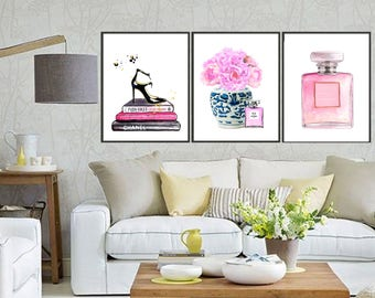 3Set: blue and white vase with peony jimmy choo shoes Chanel Nr 5 art print chinoiserie ginger jar art indigo blue porcelain Ming Dynasty