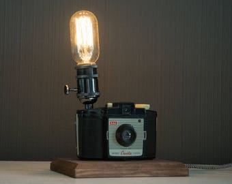 Upcycled Kodak Brownie Cresta Camera - Upcycled Camera Lamp - Edison Lamp - Steampunk Lamp - Upcycled Lamp