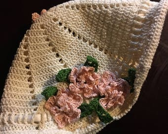 Ivory Floral Crochet Cap, baby crochet cap, kids caps hats, flowers, roses, ribbon, adjustable, girls accessories, summer hat brim hat
