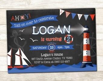 Nautical Birthday Invitation - Nautical Birthday Invite - Nautical Party invitation - Sail Boat Birthday invitation - Ahoy Party Invite