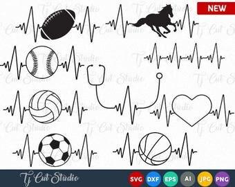 Heartbeat Svg, Heartbeat Baseball, Heartbeat basketball, Heartbeat Horse, Heartbeat soccer, Heartbeat Cut Files Silhouette Studio Cricut