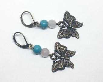 Natural Turquoise and Rose Quartz Earrings, Bronze Butterfly Earrings, Boho Bronze Dangle Stone Earrings, Uk Shop