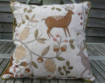 """Embroidered stag cushion cover 18"""" square with piping and green back"""