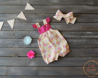 3-6 Month Pink Floral Vinties Set (includes sandals)