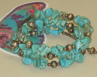 BRACELET Turquoise STERLING SILVER 24inch Memory Wire Beads Craft Jewelry Southwest Style