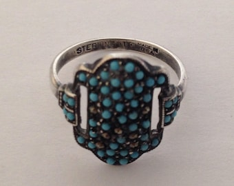 UNCAS ring, sterling silver with turquoise blue stones and marcasites.