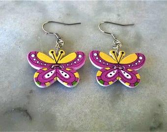 Colourful wooden butterfly earrings