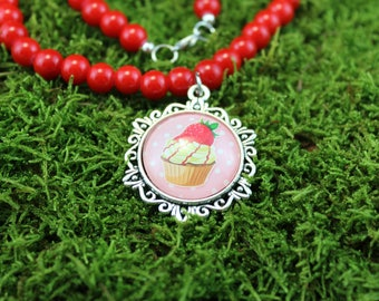 Vintage inspired red glass Pearl Necklace with pendant Cup Cake