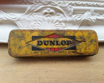 Vintage Dunlop 'Long Cycle Repair Outfit' kit in original tin with used contents