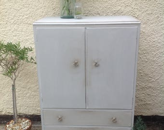 Vintage hand painted tall boy cupboard
