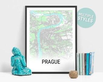 Prague Map Print, Czech Republic, City Map, City Map Print, Travel Map, Map Art, Map Poster, Wall Art, Home Decor, Modern, Minimalist