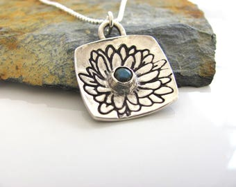 Fine Silver Flower Pendant with Labradorite Gemstone - Sterling Silver Ball Chain - Unique Design - Ready to Ship - Silver Jewelry - Artisan