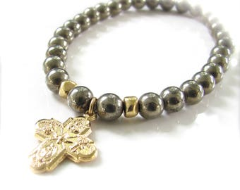 Stretch Bracelet with Cross and Pyrite - Religious Medal Bracelet - Gold Finish & Pyrite Yoga Stretch Gem Bracelet - Ready to Ship