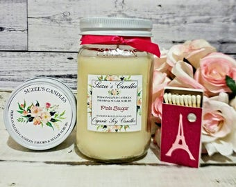 Pink Sugar Scented Soy Candle - Soy Candle Handmade - Mason Jar Candles  - Soy Wax Candles - 16oz Soy Candle - Sweet Candle