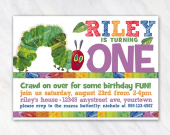 Very Hungry Caterpillar Invitation for Birthday Party - Printable Digital File