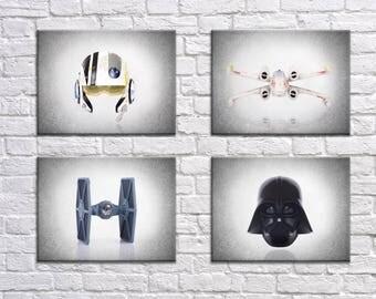 Set of 4 Star Wars Aircrafts wall prints, Star Wars , boys room decor, kids room decor, Star wars prints, Star wars decor, Star wars Art