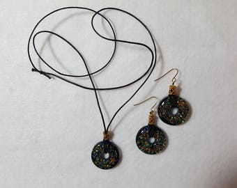 Multi-Color Glass Necklace and Earrings