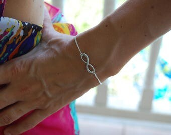 Silver plated  curb bracelet infinite symbol / eternity
