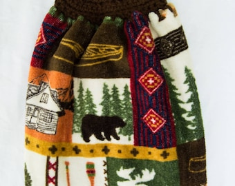 Rustic Moose Grid Kitchen Towel - Crochet Top
