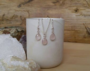 Rose Quartz Necklace Earring Set//Self Love//Unconditional Love//January Birthstone Birthday//Healing Crystals//Choose Your Chain Length