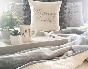 """Morning Pumpkin, 18""""x18"""", pillow cover, modern farmhouse, farmhouse style, cushion cover"""