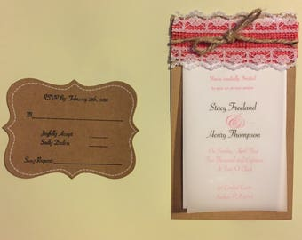 Burlap and Lace Country Chic Wedding Invitations