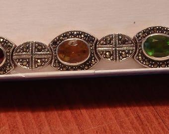 Genuine Gem Stones & Marcasite Sterling Silver Bracelet - 36 grams