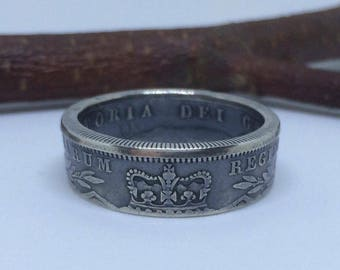 Silver - 1845 Victorian Half Crown Coin Ring