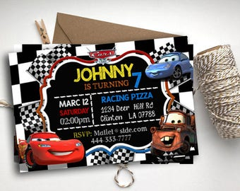 Cars Invitations, Cars Chalkboard, Lightning McQueen Birthday Invitation, Cars Printables, Cars Party Favors, Cars Birthday, Cars Invitation