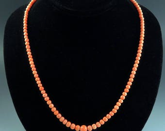 Late 1800's-Early 1900's Antique Coral Bead Necklace