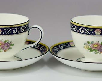 2 Great Wedgwood Runnymede Blue W4472 Pattern Bone China Footed Cups & Saucers