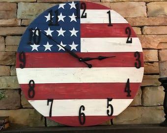American FlagClock. 30 inch clock. Farmhouse style clock