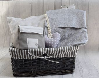 Housewarming / New home gift. Basket full of handmade home decor cute grey and white items