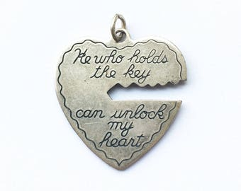 He Who Holds the Key Can Unlock My Heart Silver Pendant