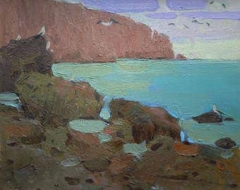 Original New Art Impressionism Sea Plein Air Twilight Summer Seascape Bay and rocky mountains Oil on cardboard Evening Painting