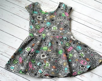 Outer Space Dress. Rocket Ship Dress. Spaceship Dress. Toddler Dress. Little Girl Dress. Twirl Dress. Twirly Dress. Play Dress. Baby Dress.