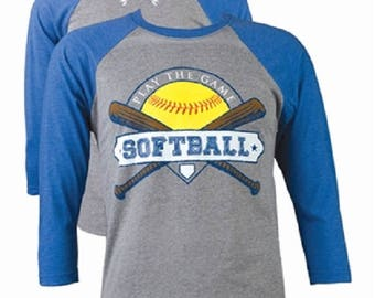 Lightheart Play the Game Softball Tee Front Print Heather Vintage Royal