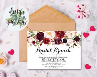 Bridal Brunch Invitation, Watercolor bridal invite, Floral Bridal Shower Card, Instant Digital Download File, Flower Bride DIY, Brunch 02