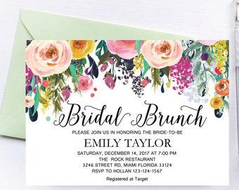 Bridal Brunch Invitation, Watercolor bridal invite, Floral Bridal Shower Card, Instant Digital Download File, Flower Bride DIY, Brunch 12