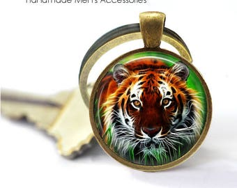TIGER FACE Key Ring • Jungle Tiger • Fierce Tiger • Indian Tiger • Tiger Head • Gift Under 20 • Made in Australia (K398)
