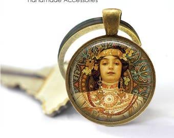 """ALPHONSE MUCHA Key Ring • Mucha Art • Mucha """"Moet & Chandon"""" • Art Deco Art • Mucha Jewellery • Gift Under 20 • Made in Australia (K507)"""
