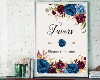 Favors Wedding Sign Digital Floral Blue Marsala Burgundy Peonies Wedding Boho Printable Bridal Decor Gifts Poster Sign 5x7 and 8x10 - WS-024