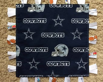 Dallas Cowboys Ribbon Blanket, Cowboys Lovey, Cowboys Tag Blanket, Cowboys baby gift, Baby Shower Gift